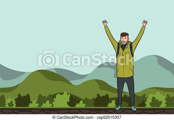 A young man, backpacker with raised hands in a hilly area. Hiker, Explorer. A symbol of success. Vector Illustration with copy space. - csp52015307