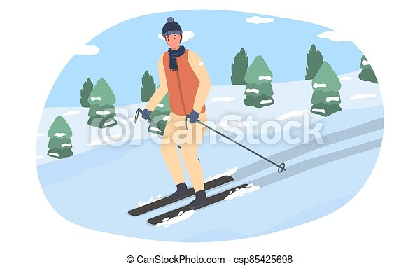 A young man goes down the mountain on skis - csp85425698