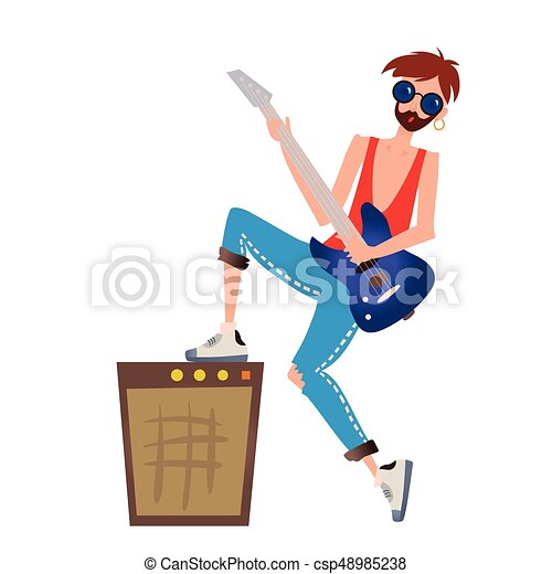 A young man playing the guitar. Rock musician. Vector illustration, isolated on white background. - csp48985238