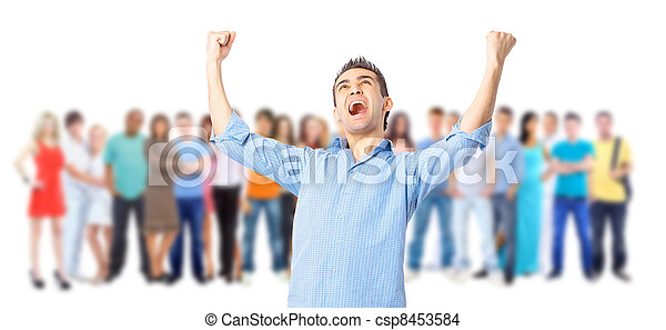 a young man with big group of the young smiling students. Over white background - csp8453584