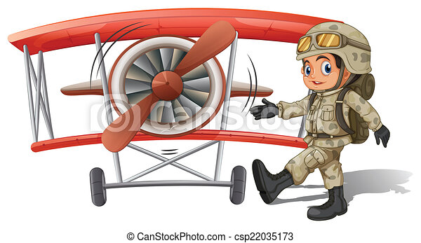 A young soldier near the plane - csp22035173