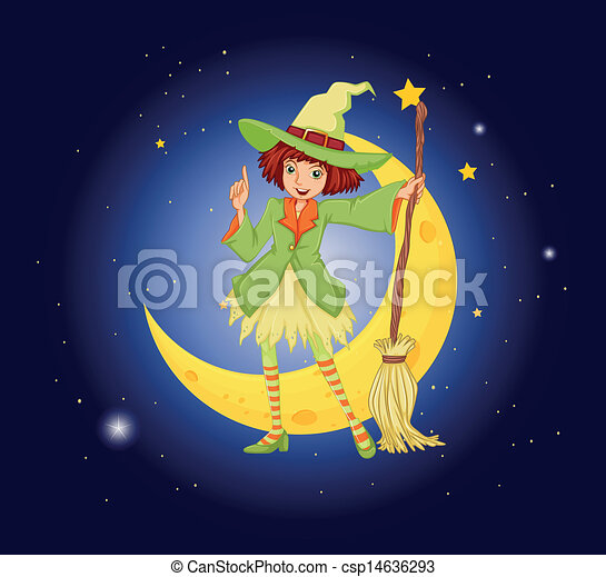 A young witch near the moon - csp14636293
