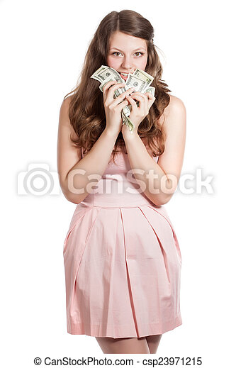 A young woman with money - csp23971215