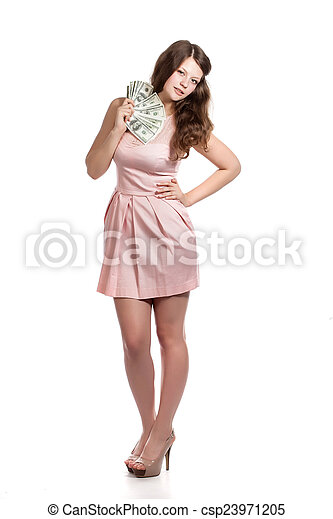 A young woman with money - csp23971205