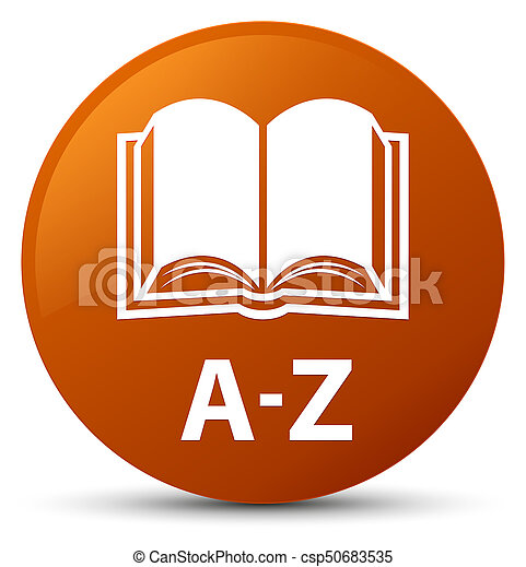 A-Z (book icon) brown round button - csp50683535