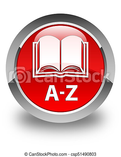 A-Z (book icon) glossy red round button - csp51490803
