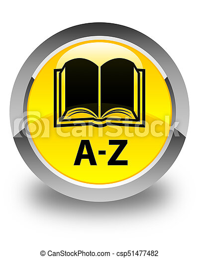 A-Z (book icon) glossy yellow round button - csp51477482