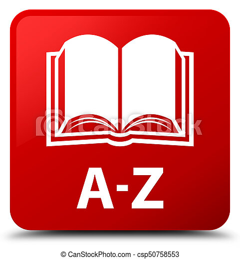 A-Z (book icon) red square button - csp50758553