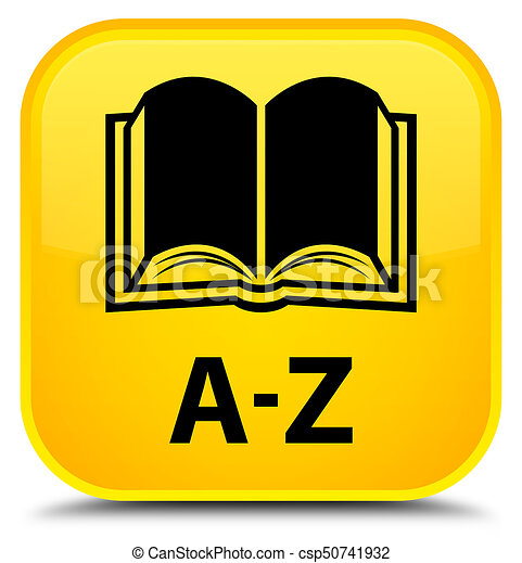 A-Z (book icon) special yellow square button - csp50741932