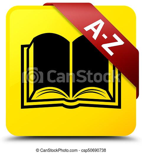 A-Z (book icon) yellow square button red ribbon in corner - csp50690738