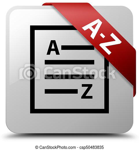 A-Z (list page icon) white square button red ribbon in corner - csp50483835