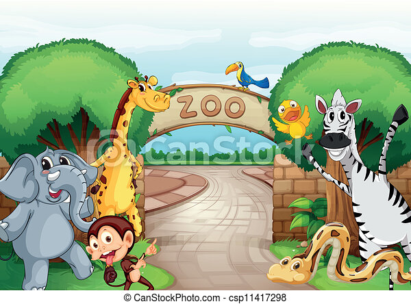 illustration of a zoo and the animals in a beautiful nature rh canstockphoto com zoo cliparty zoo clipart png