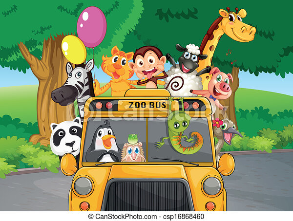 A Zoo Bus With Animals Illustration Of A Zoo Bus With