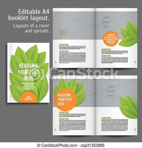 a4 book layout design template with cover and 2 spreads of contents