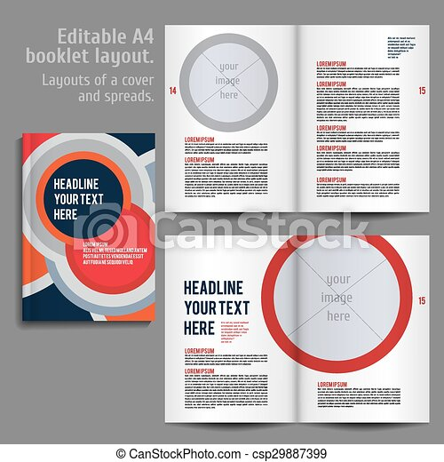 a4 booklet layout design template with cover and 2 spreads of