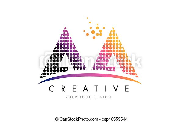 Aa A Letter Logo Design With Magenta Dots And Swoosh