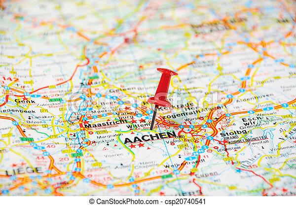Aachen belgium pin map Red push pin pointing at aachen stock