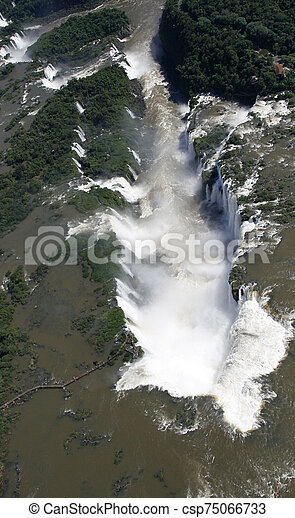 Aaerial view of Iguazu waterfalls from helicopter. Border of Brazil and Argentina. - csp75066733