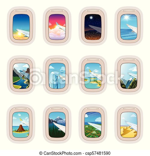 Aairplane Window Vector Traveling By Plane And Porthole View In