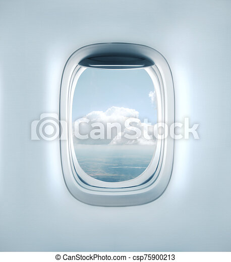 Aairplane Window With Clouds View High Resolution Open Aircraft S