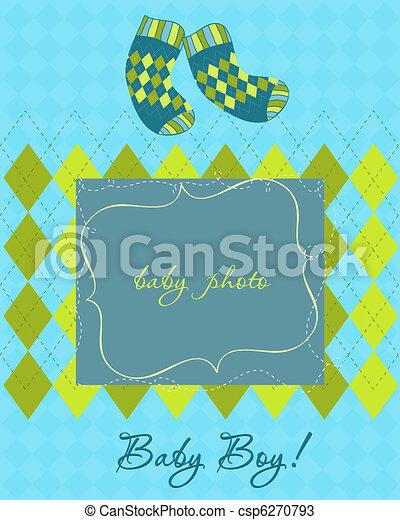aankomst, fotokader, kaart, baby - csp6270793