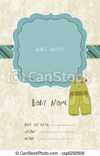 aankomst, fotokader, vector, baby, kaart - csp6292606