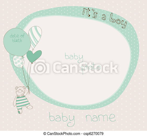 aankomst, jongen, baby, kaart, photoframe - csp6270079