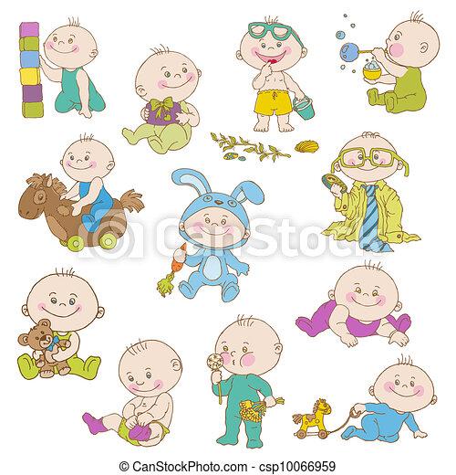 aankomst, jongen, set, doodle, -, ontwerp, douche, baby, vector, plakboek, kaarten, of - csp10066959