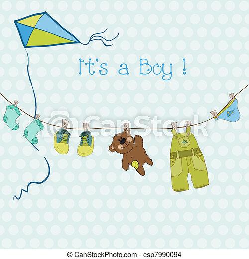 aankomst, jongen, tekst, of, douche, vector, plek, baby, jouw, kaart - csp7990094