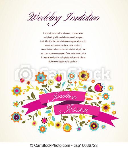 aankondiging, kaart, groet, uitnodiging, trouwfeest, of - csp10086723