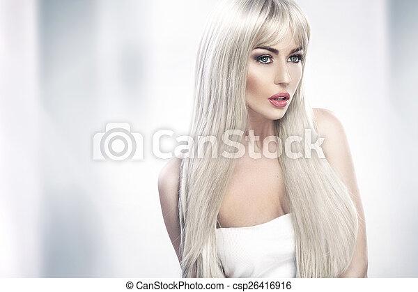 aanlokkelijk, vrouw, jonge, langharige, blonde  - csp26416916