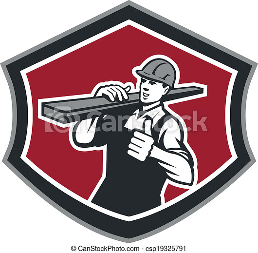 aannemer, op, timmerman, retro, dragen, hout, duimen - csp19325791