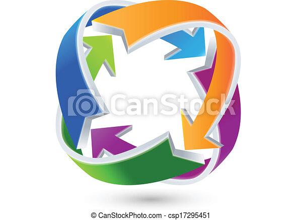 aansluitingen, logo, pijl, zakelijk - csp17295451