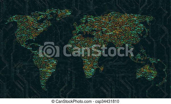 aansluitingen, wereld, digitale , breed, web - csp34431810
