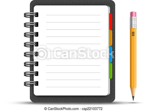 aantekenboekje, leder - csp22103772