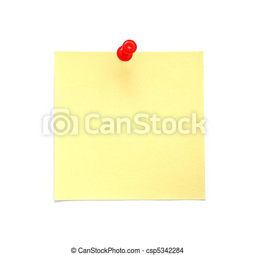 aantekening, leeg, gele, kleverig - csp5342284