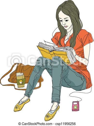 aanzicht, vrouw, bovenkant, boek, lezende  - csp11956256
