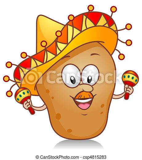 aardappel, spelend, maracas - csp4815283