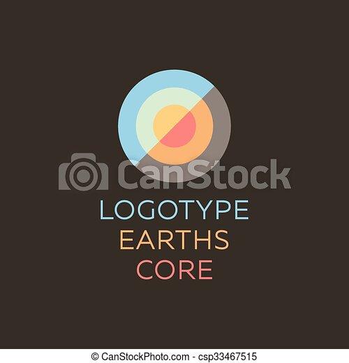aarde, goed, kern, gedeelte, korst, geodesic, plat, meldingsbord, logo, kwaliteit, abstract, pictogram - csp33467515