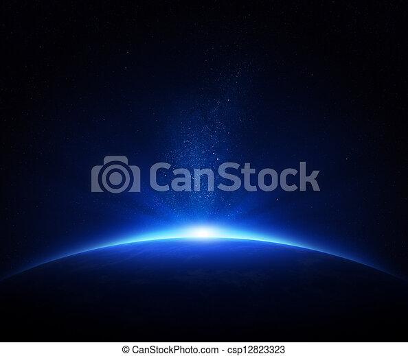 aarde, zonopkomst, ruimte - csp12823323