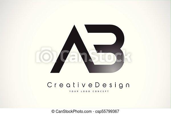 Line Art Vector Design : Ab letter logo design creative icon modern letters vector clip