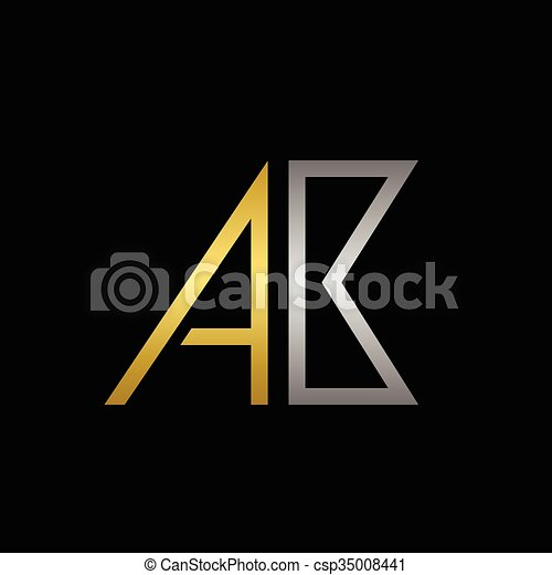 ab letters logo golden a and silver b letters logo template for