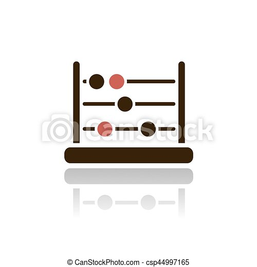 Abacus icon with reflection on a white background - csp44997165