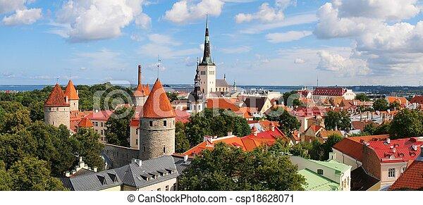 abaixar, antigas, estónia, town., panorâmico, tallinn, vista - csp18628071