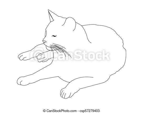 Gato tirado en la línea de arte - csp57279403