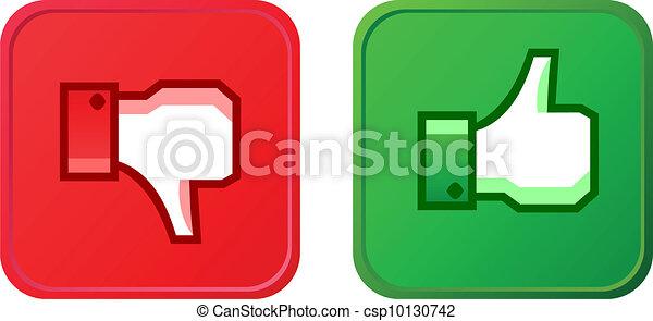 abajo, botón, pulgar up - csp10130742