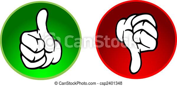 abajo, botones, pulgares arriba, y - csp2401348