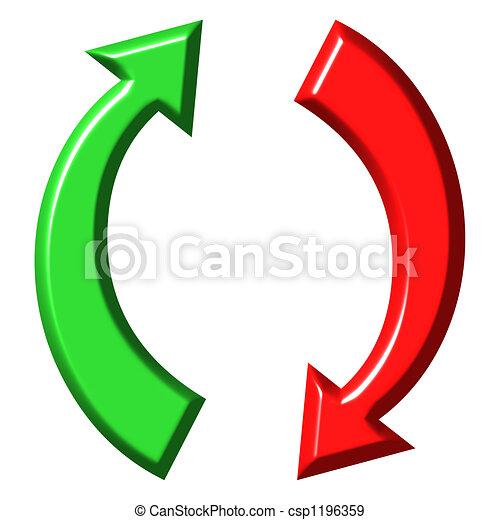 Ilustracin de archivo de abajo circular flechas arriba 3d