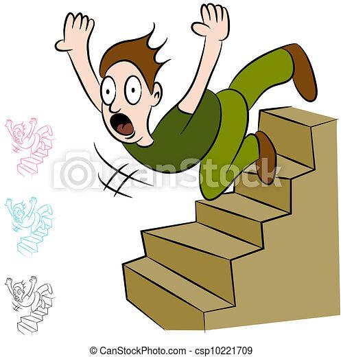 Hombre cayendo por las escaleras - csp10221709
