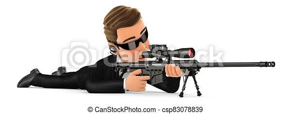 abajo, francotirador, 3d, agente, rifle, seguridad, acostado - csp83078839